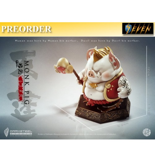 PREORDER: Dark Steel Toys 13cm The League of Monster Jurney to the West - Animals Signs - Pig - TianPeng: White Statue