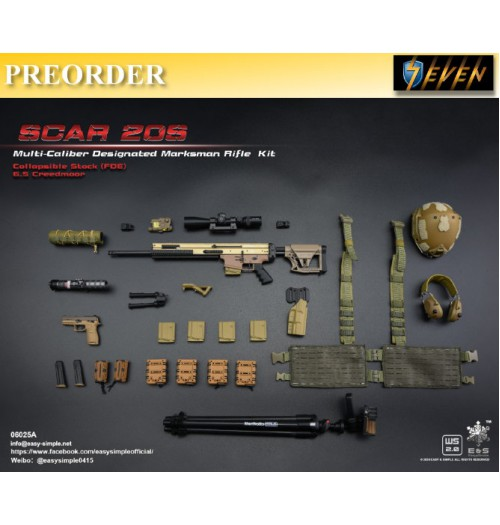 PREORDER: Easy&Simple 1/6 06025 SCAR 20S Multi Caliber DMR Kit: Set A