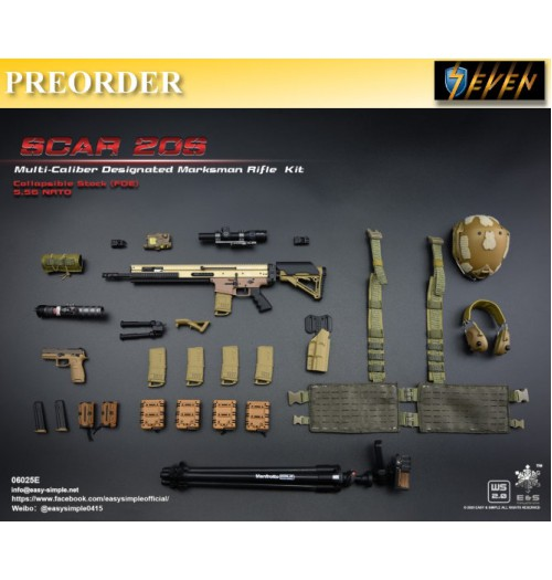 PREORDER: Easy&Simple 1/6 06025 SCAR 20S Multi Caliber DMR Kit: Set E