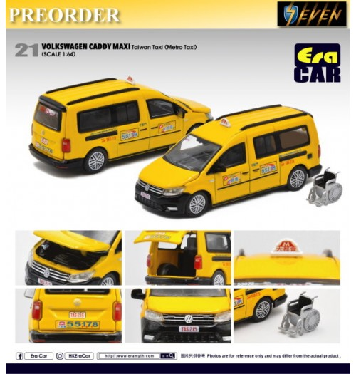 PREORDER: Era Car 1/64 Volkswagen Caddy Maxi - Taiwan Taxi (Metro Taxi) 21: Diecast Model Car