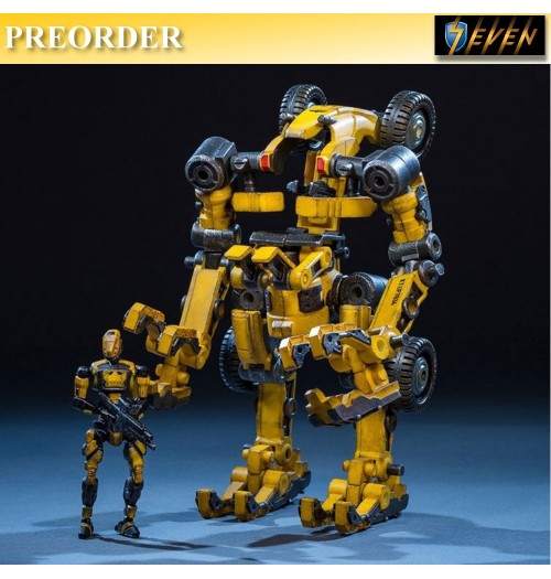 PREORDER: Joy Toy 1/24 Yellow Tiekui Mech TKO2 16 cm +7.7cm Soldier