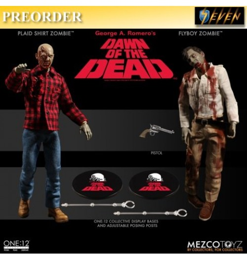 PREORDER: Mezco Toys 1/12 Dawn of Dead - Plaid Shirt & Flyboy Zombie Set