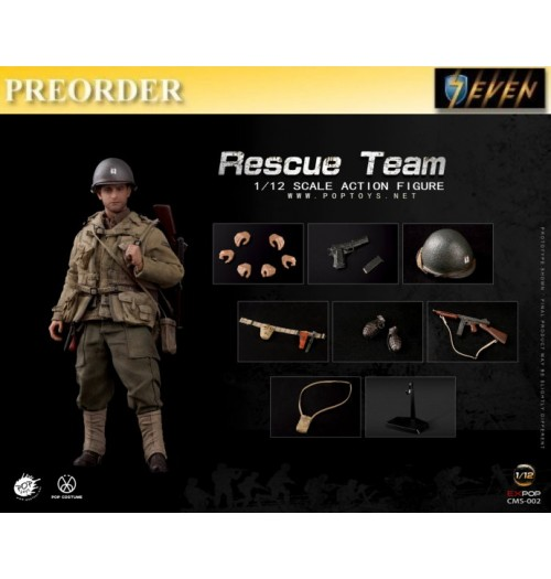 PREORDER: Pop Toys 1/12 CMS002 WWII US Rescue Squad - Captain: Boxset