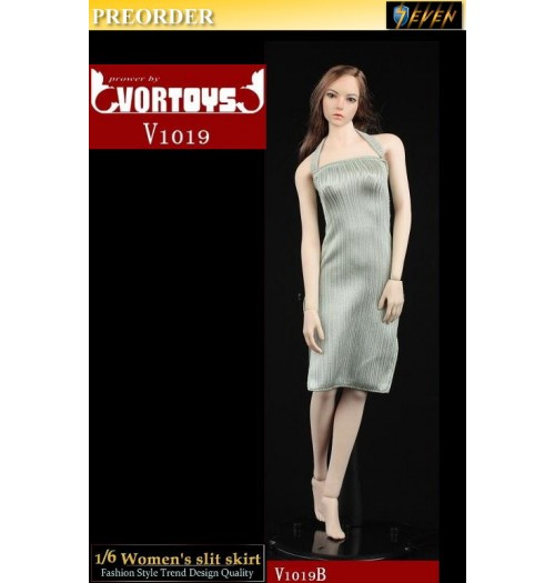 PREORDER: VORTOYS 1/6 V1019B Women's slit skirt (Green): Set