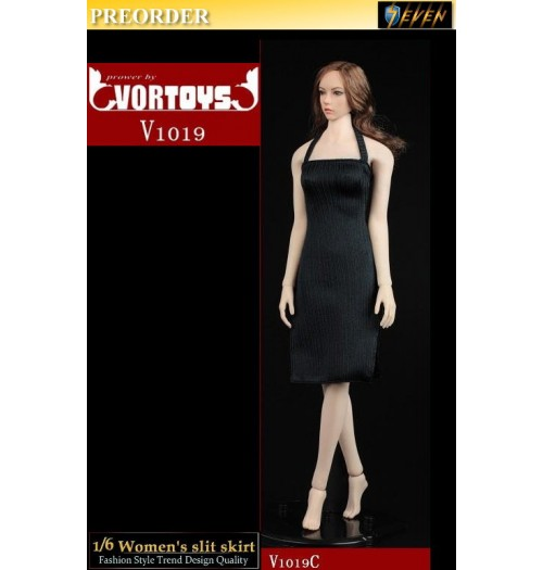 PREORDER: VORTOYS 1/6 V1019C Women's Slit Skirt (Black): Set