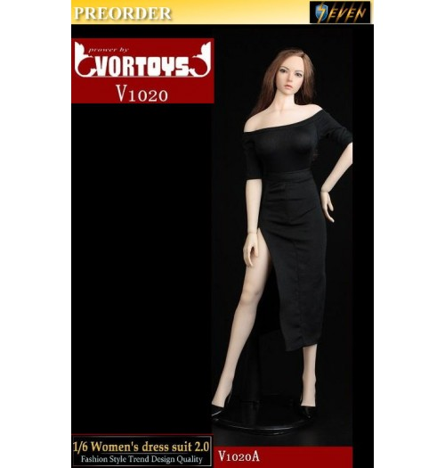 PREORDER: VORTOYS 1/6 V1020A Women's dress suit 2.0 (Black): Set