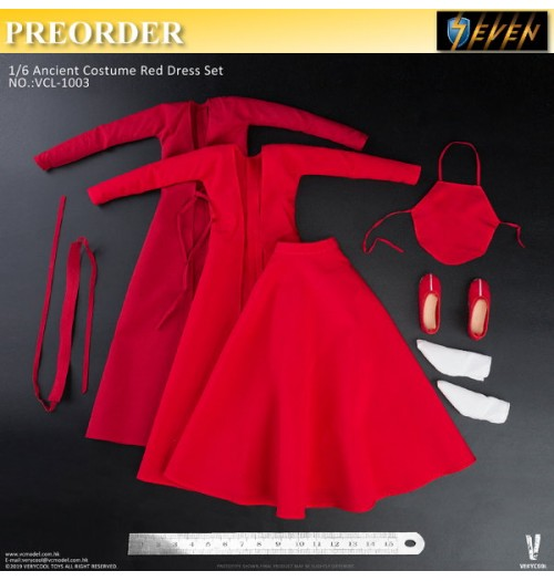 PREORDER: Verycool 1/6 Ancient Costume Red Dress: Set